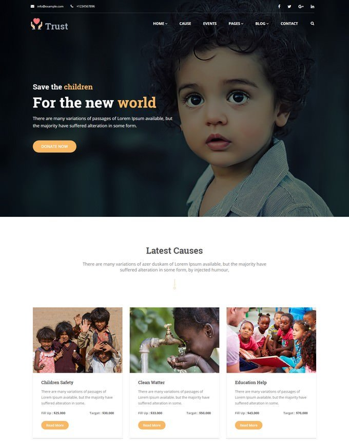 Trust - Nonprofit Charity Website Template