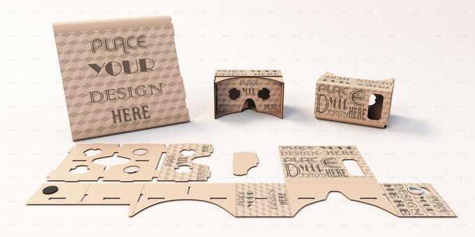 VR Headset Google Cardboard Packaging Mock-ups