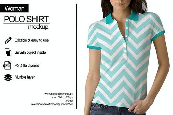 Woman Polo Shirt Mockup