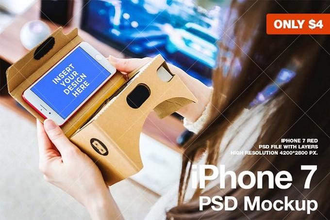 iPhone 7 PSD Mockups VR. Cardboard