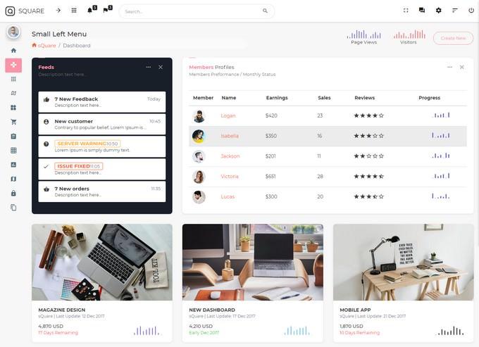 sQuare - Bootstrap 4 Light & Dark Admin with Free Angular5 + UI Kit