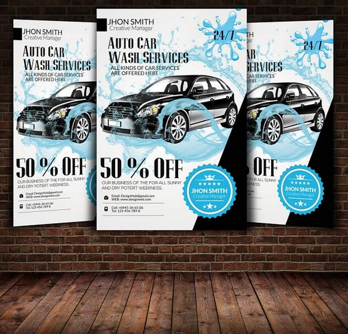 Auto Car Wash Service Flyer Template