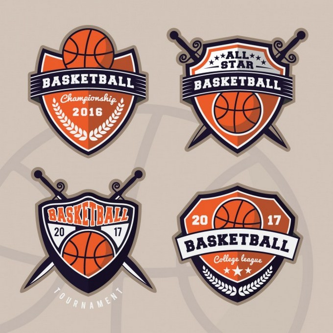 Basketball logos collection template