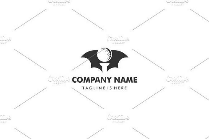 Bat Stand Putter Golf Ball Logo