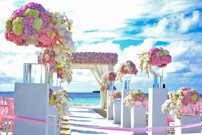 Beach Beach Wedding Chairs Clouds Background