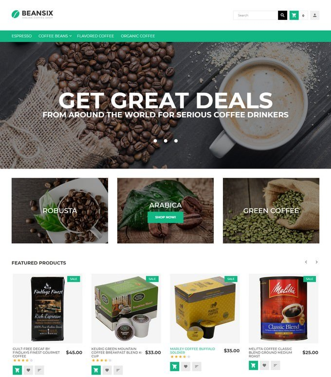 Beansix - Coffee Shop Magento Theme