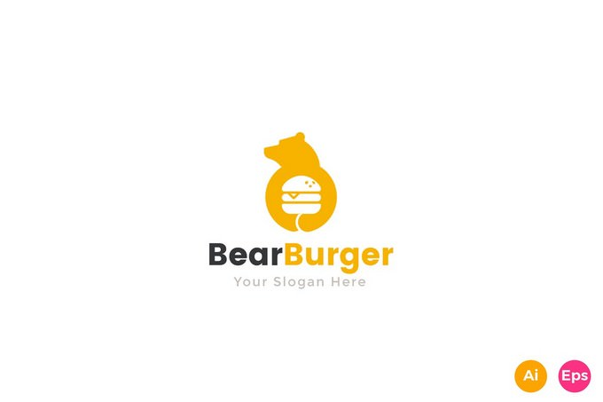 Bear Burger Food Logo Template