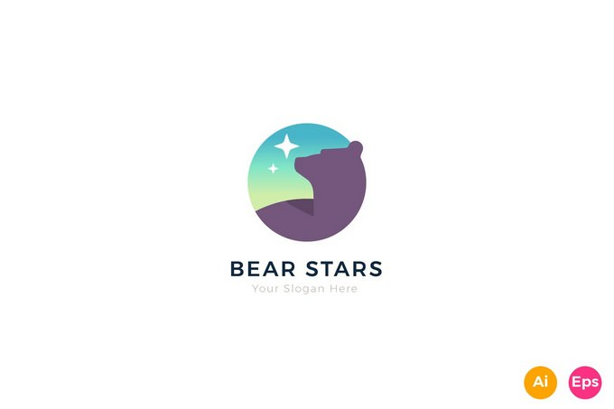 Bear Stars Logo Template