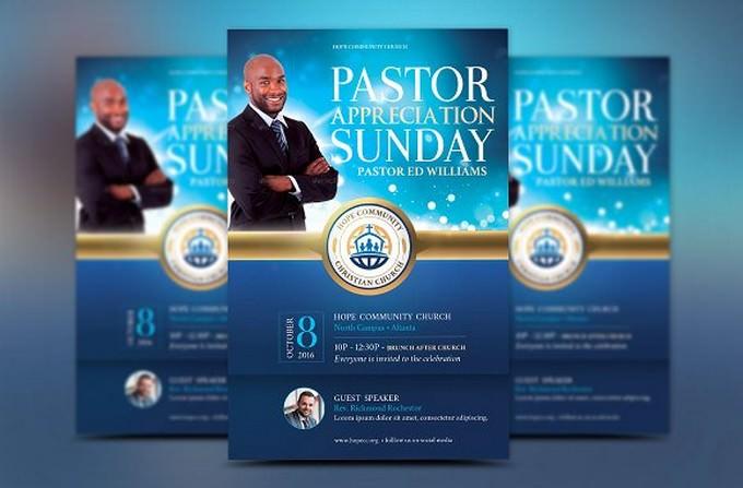 Blue Pastor Appreciation Flyer