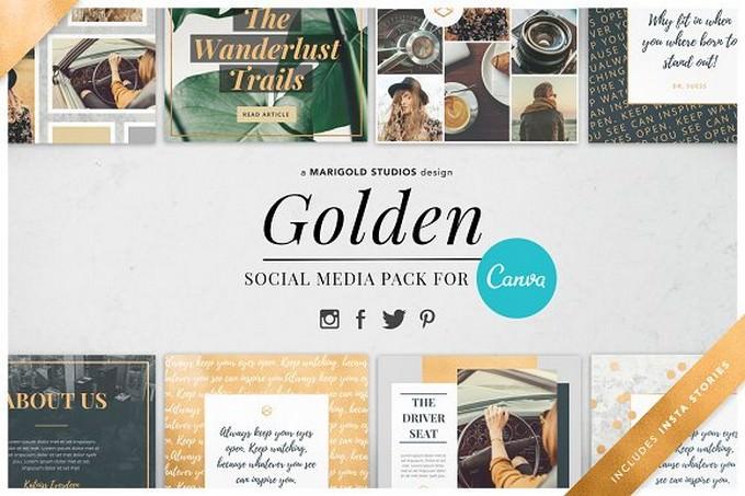 CANVA Golden Social Media Pack