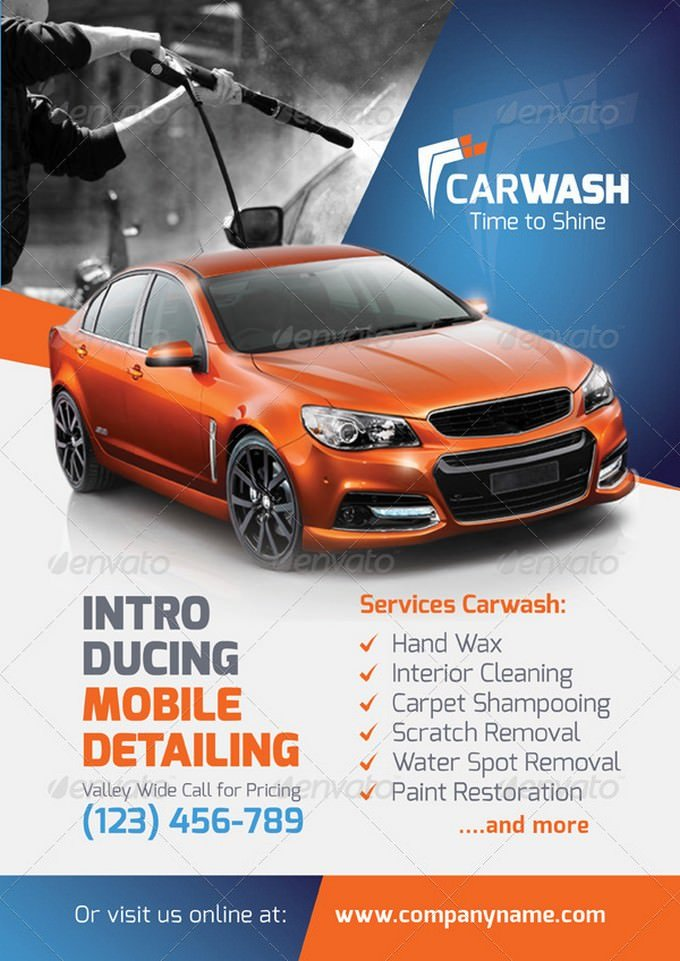 Car Wash Tieme To Shine Flyer Templates