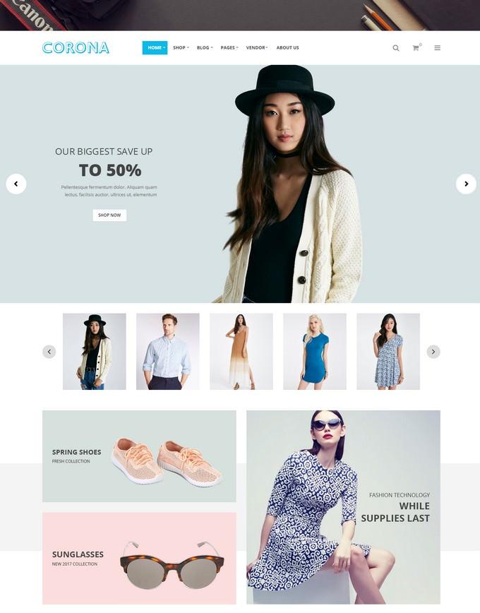 Corona - Fashion Model and Clothes WooCommerce WordPress Theme
