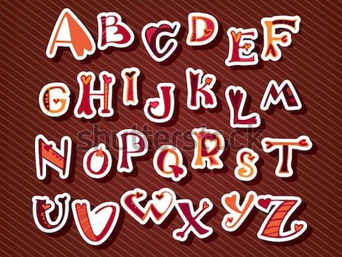 Decorative Font With Hearts