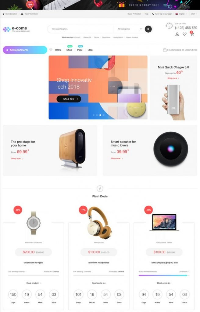 Ecome - Electronics Store WooCommerce Theme