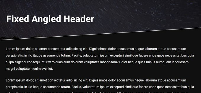 Fixed Angled Header using a CSS Pseudo-Element