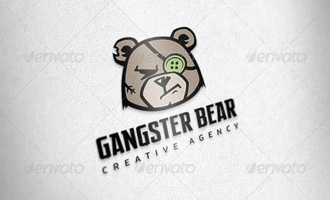 Gangster Bear Logo Template