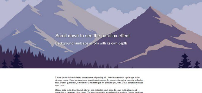 Header Image Parallax Scrolling Effect with CSS