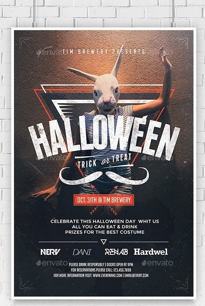 Hipster Halloween Flyer Template