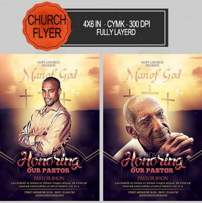 Man Of God Pastor Appreciation Church Flyer