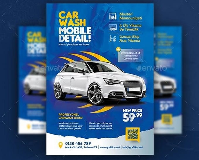 Mobile Detail Car Wash Flyer Templates