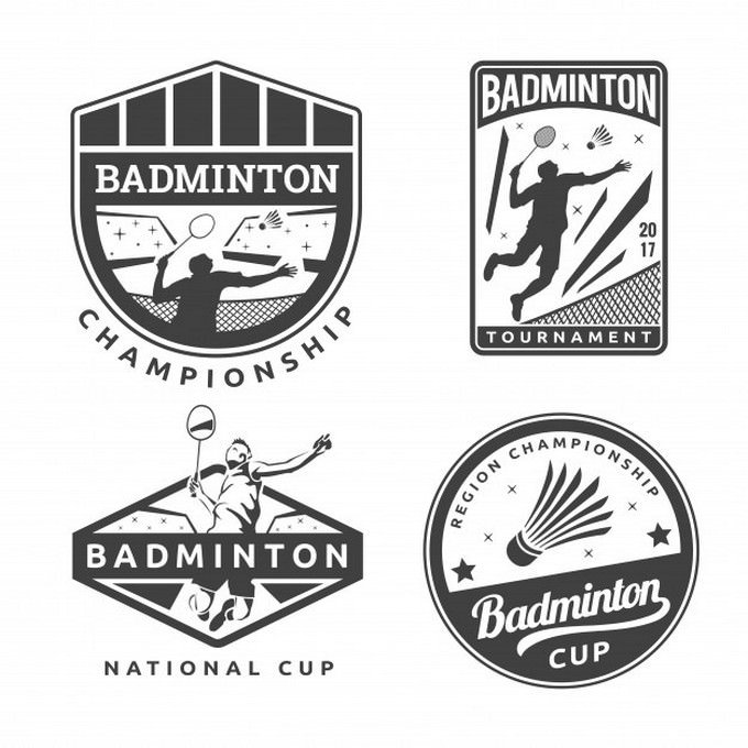 Modern Monotone Badminton Badge Logo template
