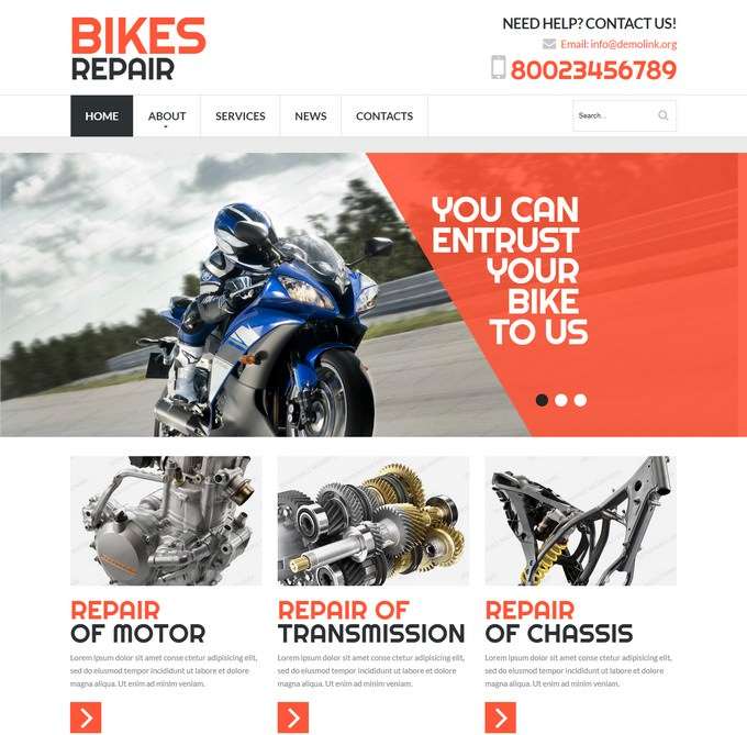 15 Motorcycles Bikes Website Templates Themes 2019