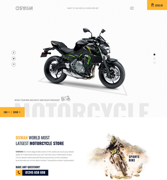 Oswan - eCommerce Bike Store Website Template