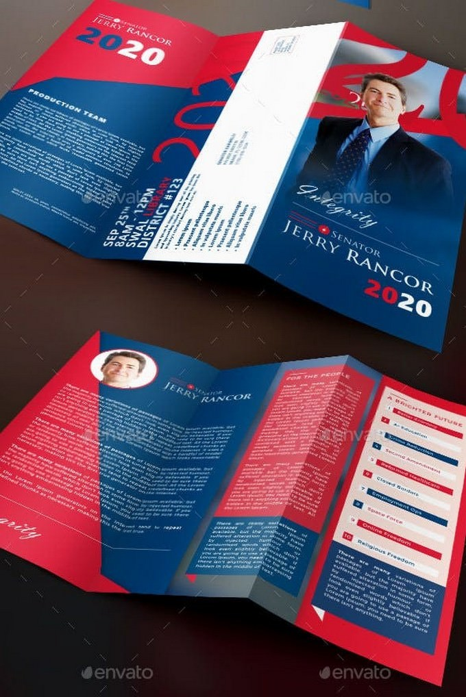Political Election Tri-Fold Brochure Template