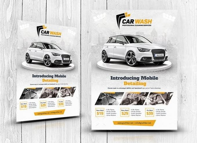Professional Clean Service Car Wash Flyer Templates