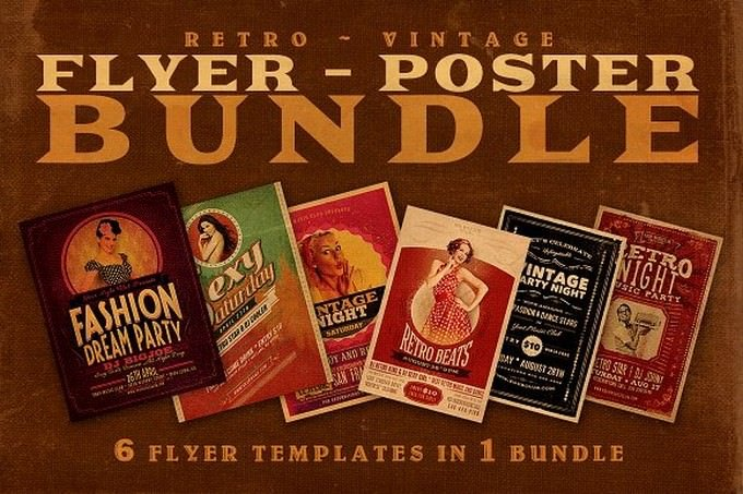 Sale 6Retro Flyer Templates