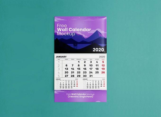 Single Panel 3 Month Wall Calendar Mockup