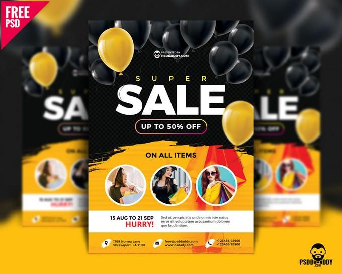 Super Sale Flyer Design Free PSD