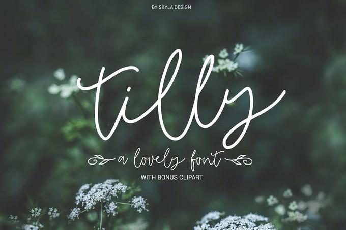 Tilly, A Lovely Font & Bonus Clipart