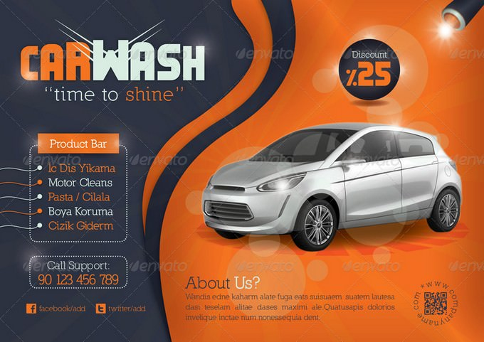 Time To Shine Car Wash Flyer Template