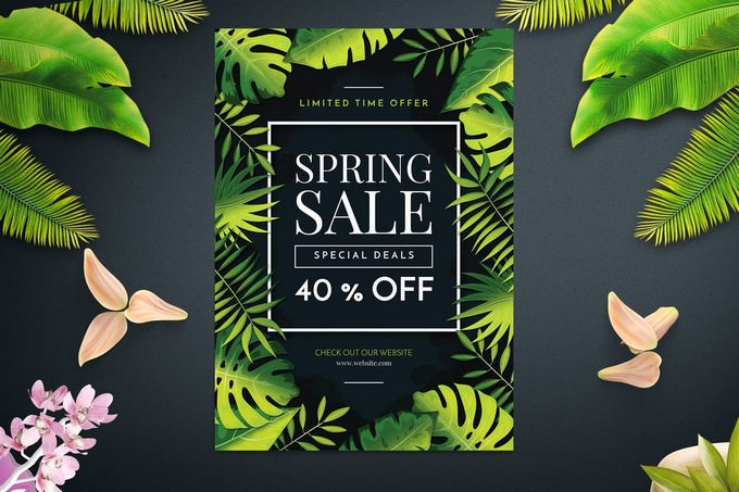Tropical Spring Sales Flyer Template