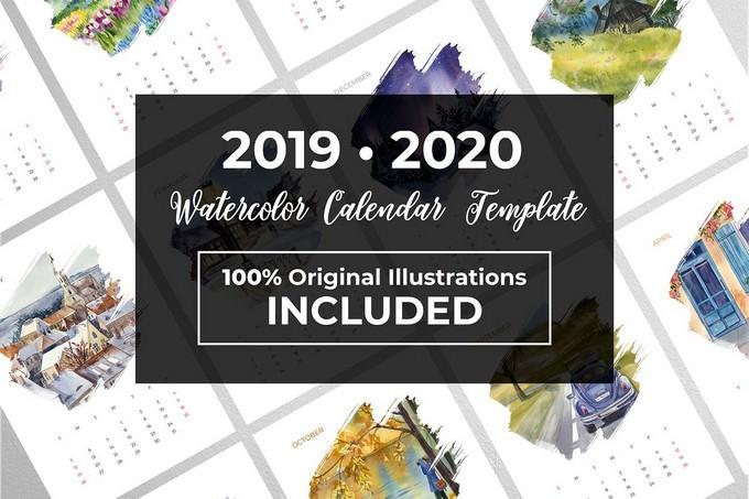 Watercolor Calendar 2020