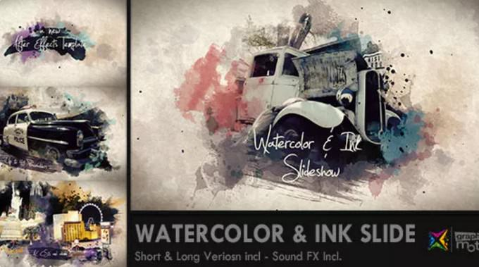 Watercolor & Ink– After Effects Slideshow Template