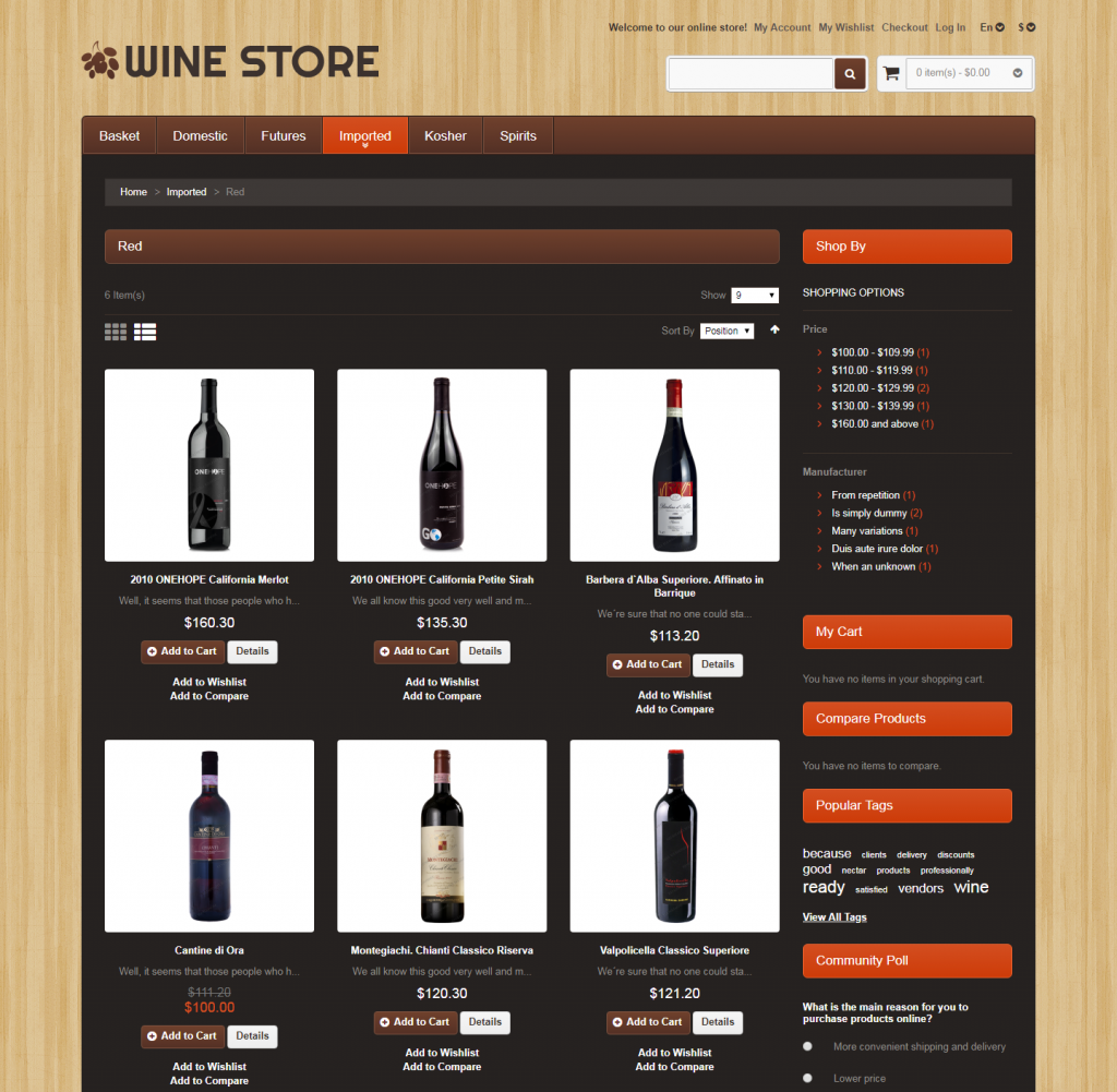 Wine Store Free Responsive Bootstrap Magento Template