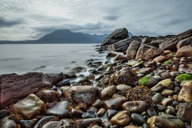 beach Rock Coast Scotland Background 1280 × 853
