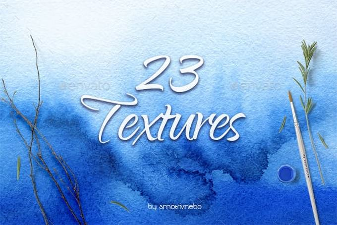 23 Different Blue Watercolor Textures