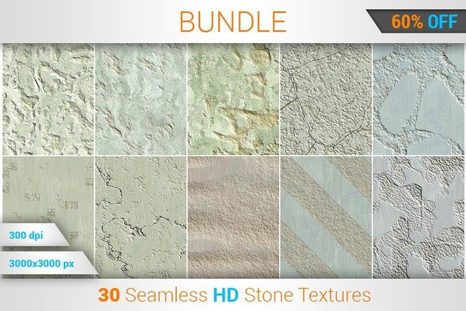 30 Seamless Stone HD Textures Bundle