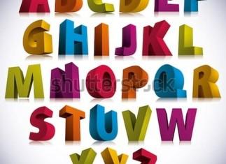 3D Font, Big Colorful Letters