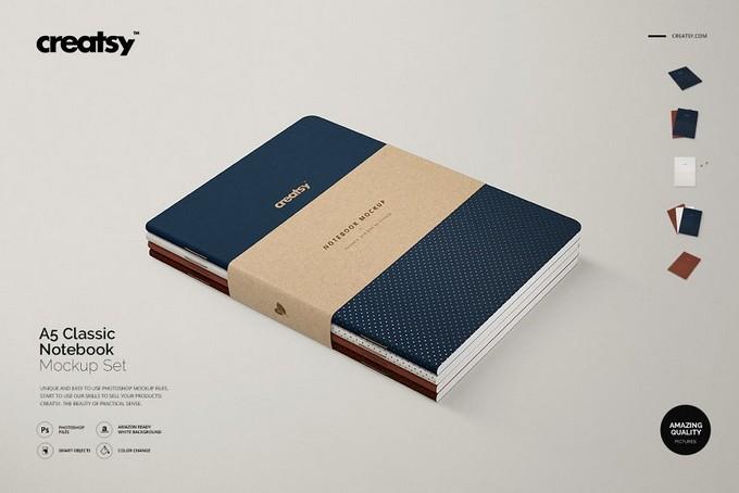 A5 Classic Notebook Mockup Set