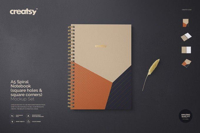 A5 Spiral Notebook Mockup Set