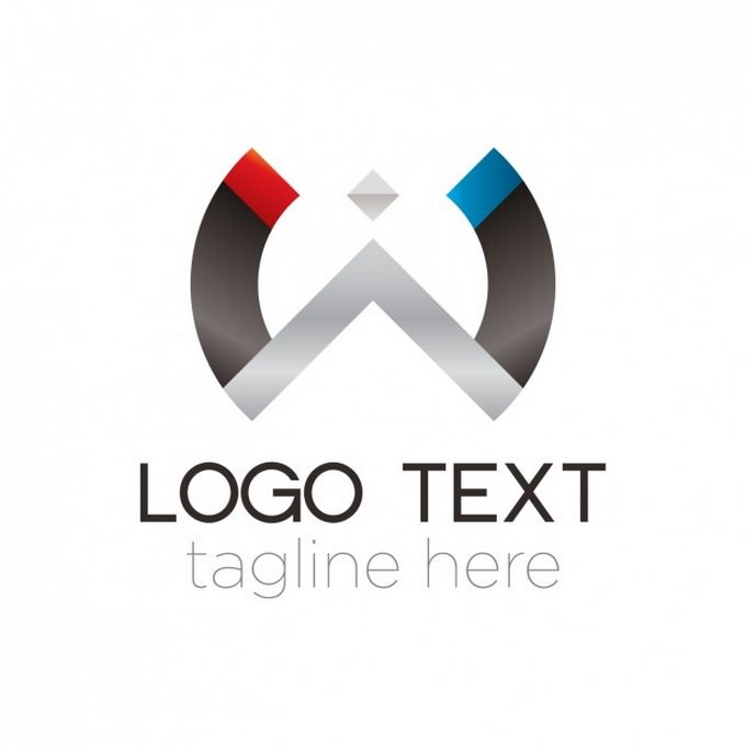 Abstract Metal Semicircle Logo
