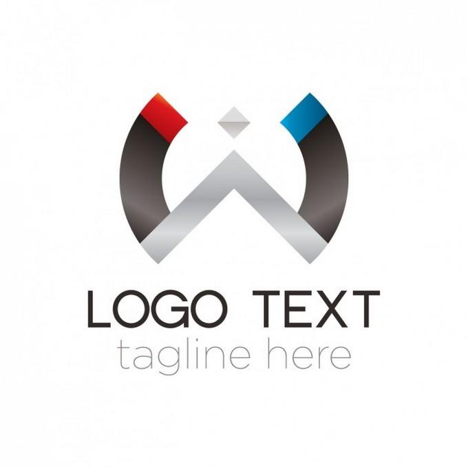 Abstract Metal Semicircle Logo