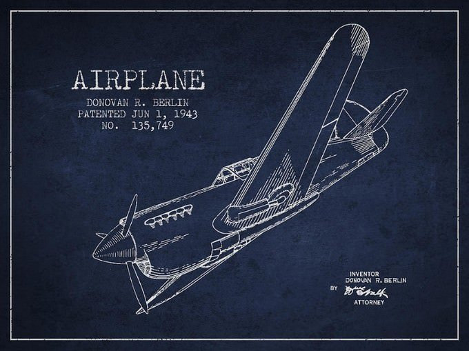 Airplane Patent Drawing From 1943