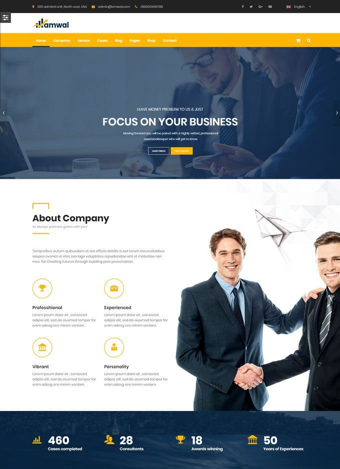 Amwal Accounting WordPress Theme