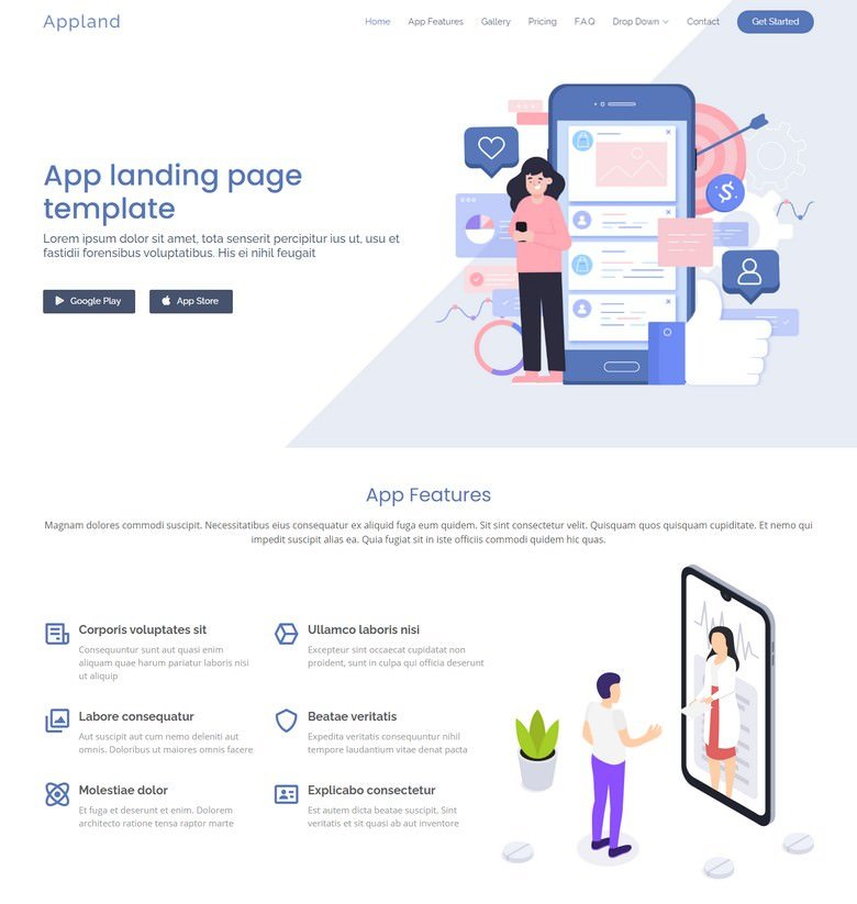 Appland - Free Bootstrap App landing page template