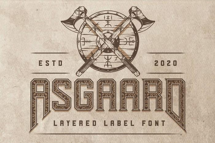 Asgaard layered label font